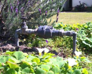 Water meter in front yard.